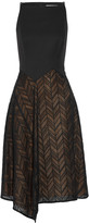 Jason Wu Draped wool-blend cady and herringbone lace midi dress