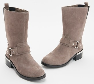 Vince Camuto Leather Buckle Mid Calf Boots - Wellery