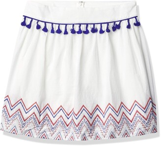 Love, Fire love FiRE Women's Tassel Trim Embroidered Hem Skirt