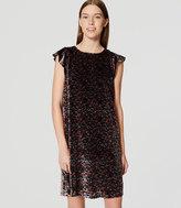 LOFT Petite Floral Velvet Flutter Dress