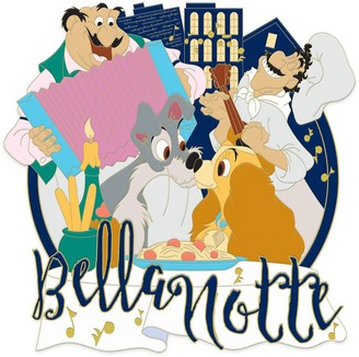 Disney Lady and the Tramp ''Bella Notte'' Jumbo Pin Limited Edition