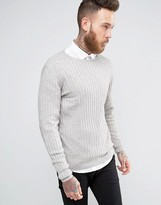 Asos Muscle Fit Ribbed Sweater in Gray