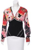 Roberto Cavalli Floral Print Long Sleeve Top