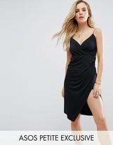 Asos Slinky Midi Dress with Wrap Skirt