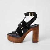 River Island Black leather strappy platform sandals