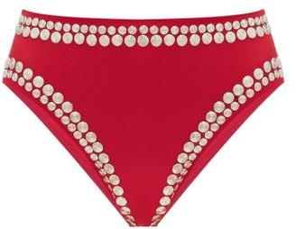 Norma Kamali Stud-embellished High-cut Bikini Briefs - Womens - Dark Red