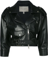 Carolina Herrera cropped biker jacket - women - Silk/Lamb Skin - 12