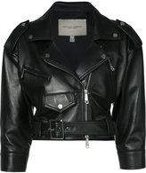 Carolina Herrera cropped biker jacket - women - Silk/Lamb Skin - 6