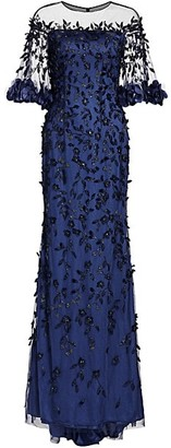 Theia Off-The-Shouler Embroidered Crystal 3D Leaves Gown