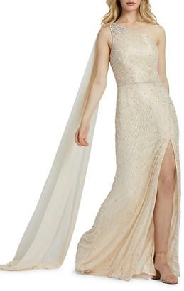 Mac Duggal Embellished One-Shoulder Column Gown