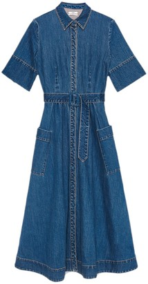Co Denim Belted Shirt Dress in Indigo