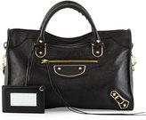Balenciaga Metallic Edge Golden City Bag, Black