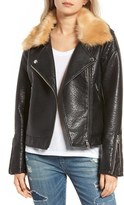 Blank NYC Women's Blanknyc Faux Fur Collar Faux Leather Moto Jacket