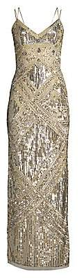 Aidan Mattox Women's Beaded Sleeveless Slit Slip Gown