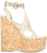 Paloma Barceló wedged sandals - women - Cork/Cotton/Raffia/rubber - 36