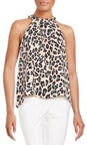 1 STATE Pleated Cheetah-Print Top