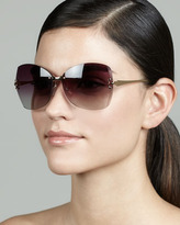 Tory Burch Rimless T-Temple Sunglasses, Gold/Violet