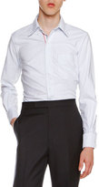 Thom Browne Classic Oxford Shirt with Tricolor Placket, Light Blue