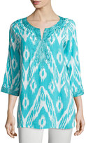Joan Vass 3/4-Sleeve Embroidered Ikat-Print Tunic, Teal Ocean/White