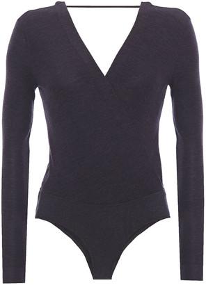 Brunello Cucinelli Wrap-effect Melange Wool-blend Jersey Bodysuit