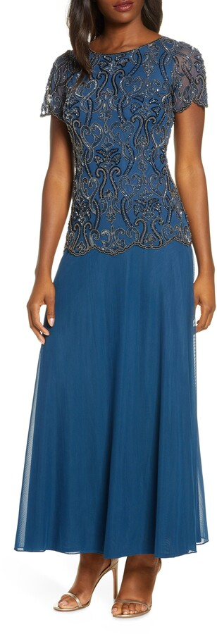 Pisarro Nights Bead Embellished Mock Two-Piece Gown