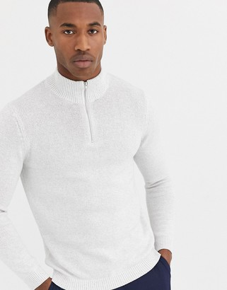 ASOS DESIGN midweight cotton half zip jumper in white twist