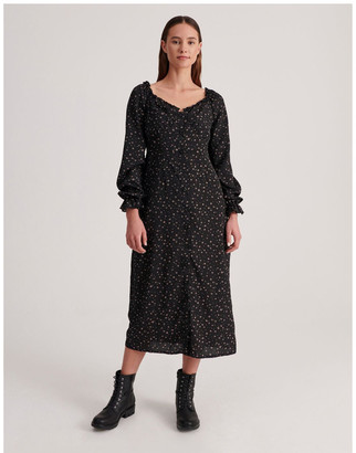 Missguided Milkmaid Midi Dress Long Sleeve Ditsy