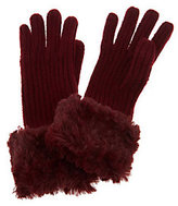 Dennis Basso Rib Knit Gloves w/ Roll Back Faux Fur Trim