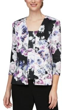 Alex Evenings 2-Pc. Floral-Print Jacket & Top Set