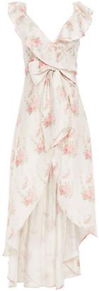 LoveShackFancy Cosmo Asymmetric Ruffled Silk-jacquard Dress