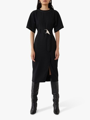 Warehouse Contrast Shift Dress, Black