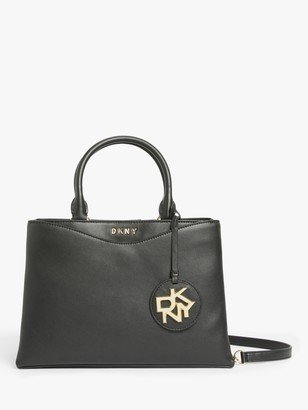 DKNY Dayna Medium Leather Satchel Bag, Black