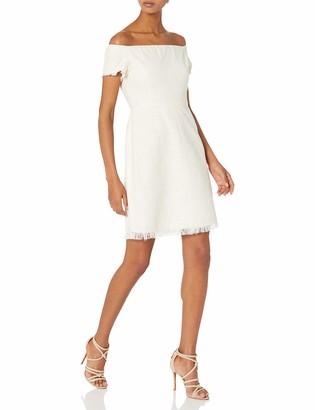 Nanette Nanette Lepore Women's Short Sleeve Off Shoulder Boucle Dress W/self Fringe Details