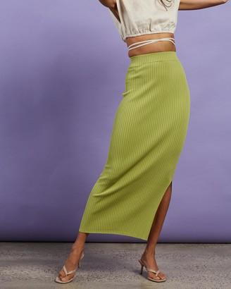 Dazie - Women's Green Midi Skirts - Hey Girl Midi Split Skirt - Size S at The Iconic