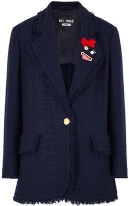 Boutique Moschino Navy embellished tweed jacket