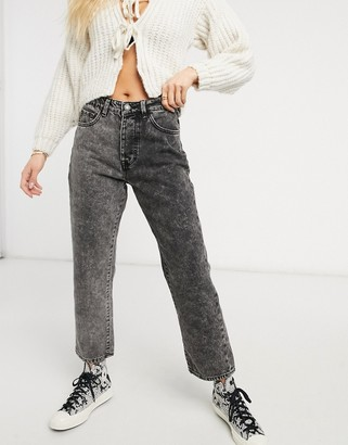 Stradivarius straight leg contrast two-tone jeans in washed black