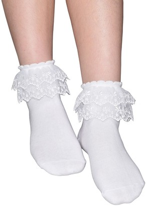 Gxuyxgsh Women's Solid Color Lace Ruffle Frilly Socks Comfortable Cotton Ankle Lace Socks Princess Socks B013 - - One Size