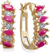 Townsend Victoria 18k Gold over Sterling Silver Earrings, Ruby (1 ct. t.w.) and Diamond Accent Marquise Hoop Earrings