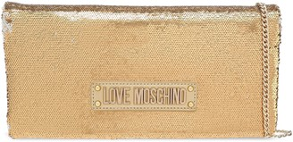 Love Moschino Logo-embellished Sequined Faux Leather Clutch