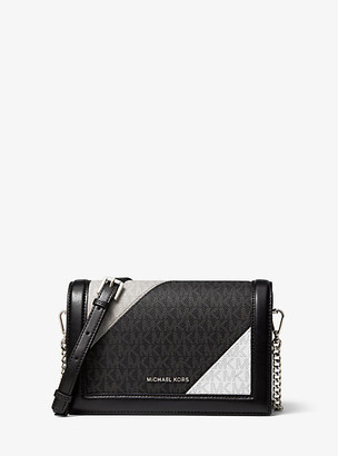 Michael Kors Jet Set Large Two-Tone Logo and Leather Crossbody Bag