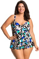 Penbrooke Plus Size Color Angles Triple Tier Fauxkini One Piece Swimsuit 8136180
