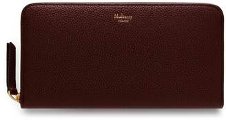 Mulberry 12 Card Zip Around Wallet Burgundy Small Classic Grain