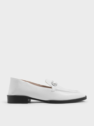 Charles & Keith Metal Accent Step Back Penny Loafers