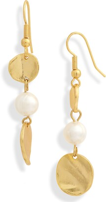 Karine Sultan Medallion & Imitation Pearl Linear Earrings