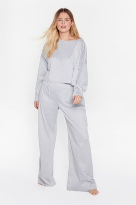 Nasty Gal Womens Call It Off-the-Shoulder Plus trousers Lounge Set - Grey - 16, Grey