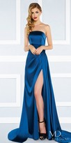 Mac Duggal Strapless Ruched A-line High Slit Evening Dress