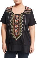 JWLA for Johnny Was Plus Embroidered Flounce Tee, Black, Plus Size