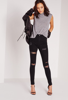 Missguided High Waisted Ripped Skinny Jeans Black