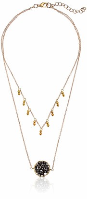 Panacea Women's Hematite Crystal Oval and Drops Necklace