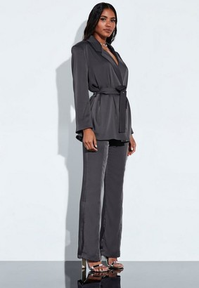 Missguided Grey Satin Slim Leg High Waisted Trousers